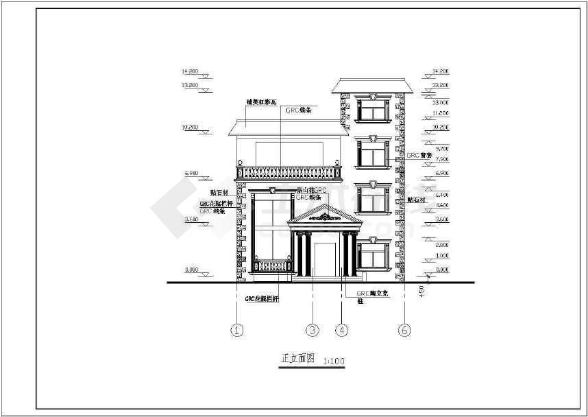 某砖混结构别墅建筑施工图纸(标注详细)