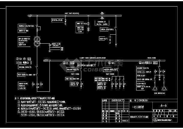 某工程630kva箱变cad电气原理接线图