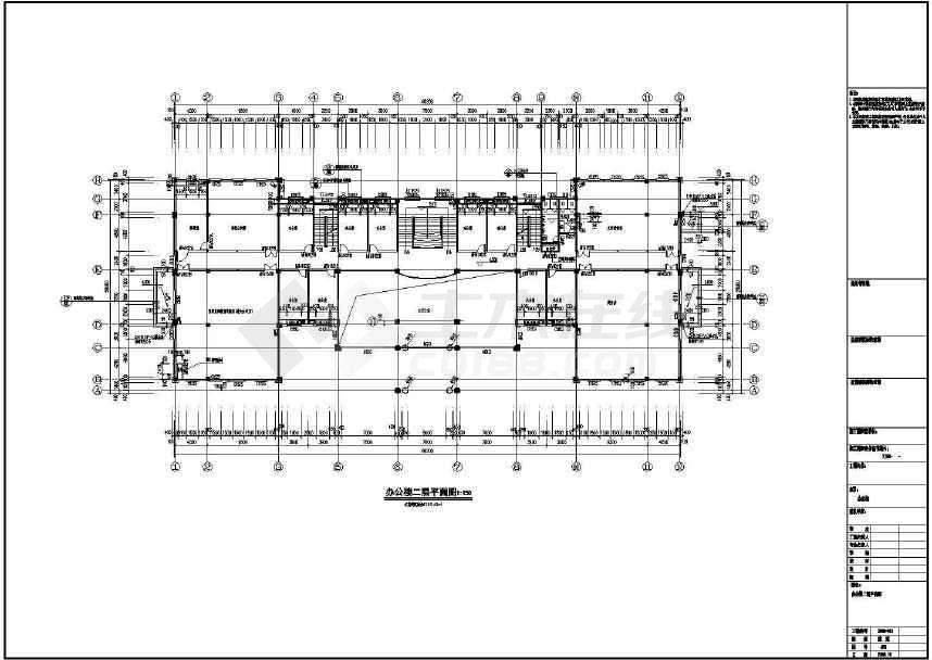 某地大型四层办公楼建筑施工图(标注详细)