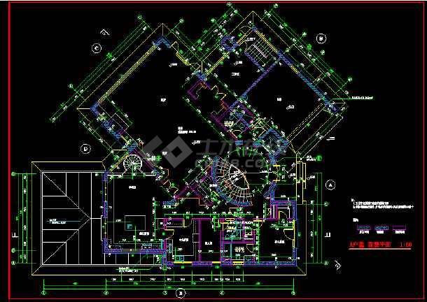 北京某墅别墅全套cad设计图带效果图