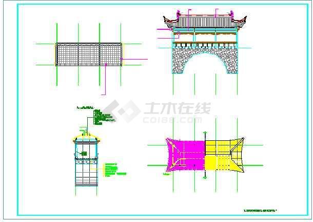 一个廊桥加一个廊架的景观设计图纸-图1