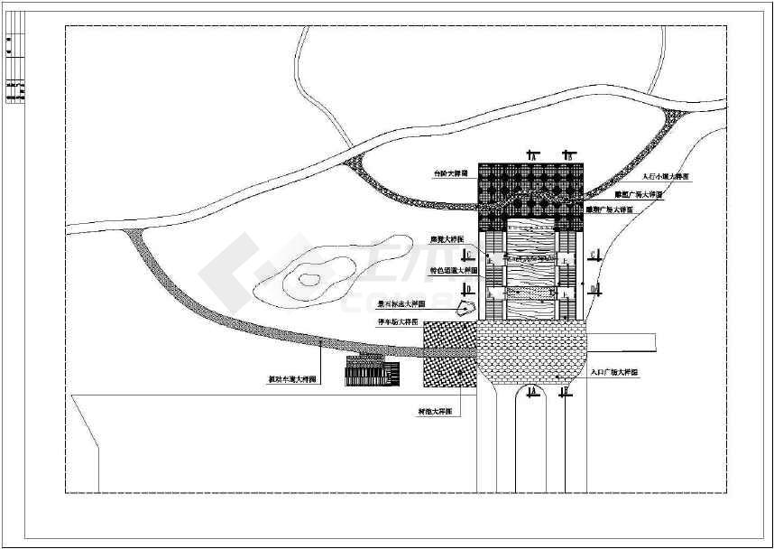 某地比较受欢迎的的公园入口施工图纸-图3