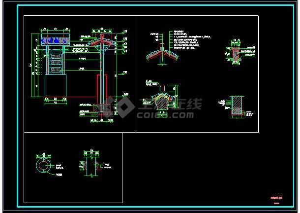 某公交站台设计CAD图纸-图1