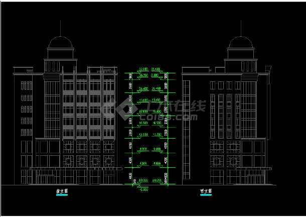 宾馆建筑施工CAD平立面设计方案图-图3