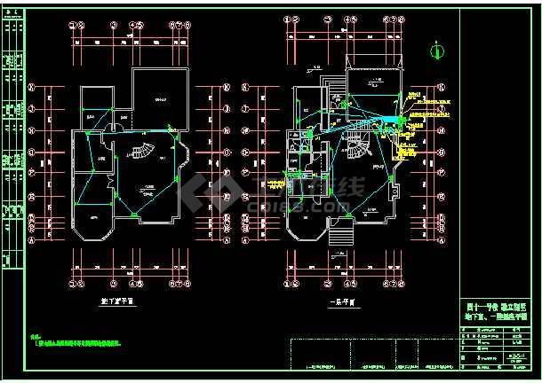 3层附地下室独立别墅电气cad设计图纸-图1