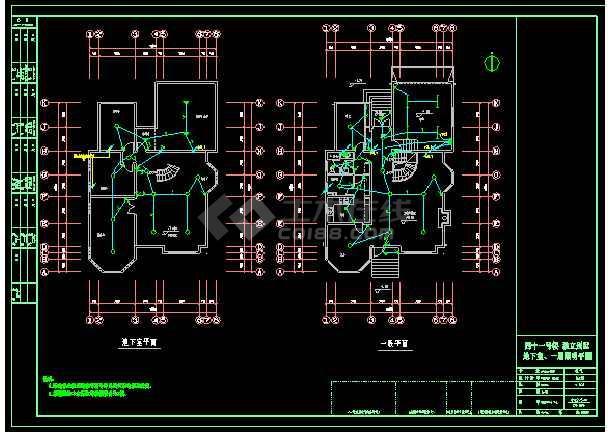 3层附地下室独立别墅电气cad设计图纸-图2