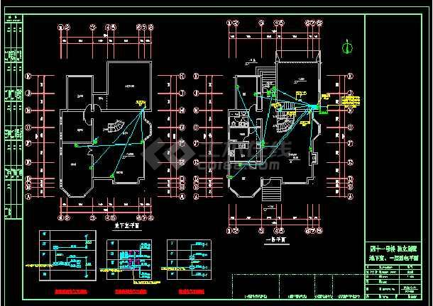 3层附地下室独立别墅电气cad设计图纸-图3