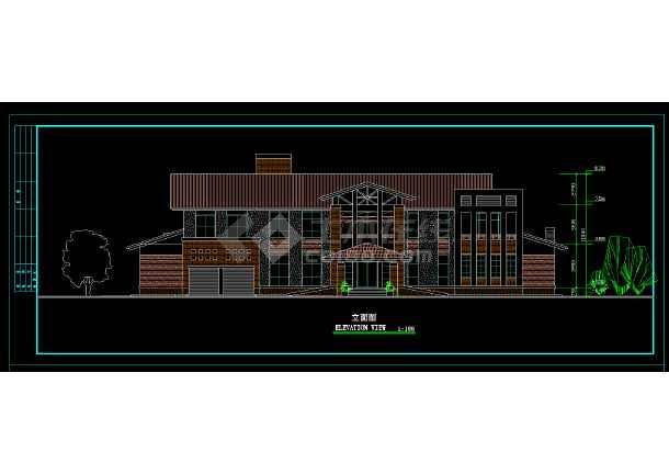 某地区某2层独立别墅设计cad建施图附效果图-图3