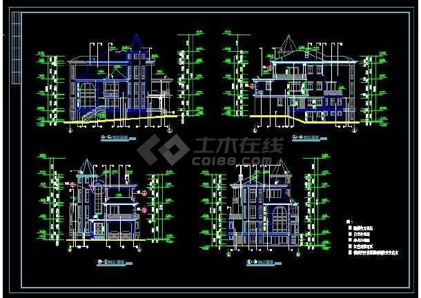 某地区A型别墅设计cad建施图带效果图-图2