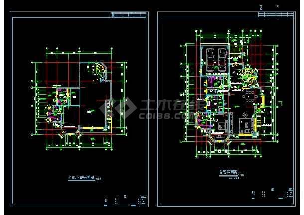 某地区A型别墅设计cad建施图带效果图-图3