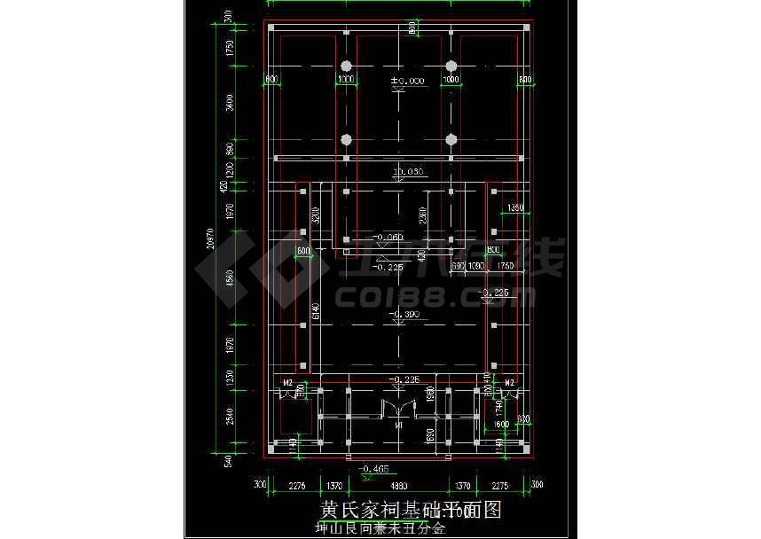 某地小型方案建筑设计主体图纸cad电路祠堂图纸图片
