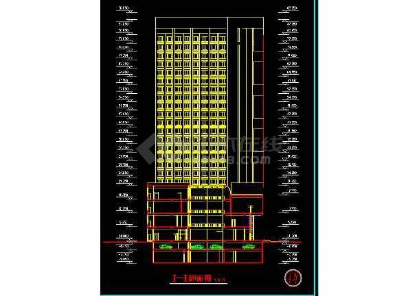 宾馆方案施工CAD平立剖面设计图-图3