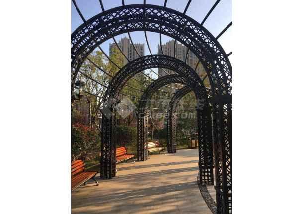 某公园欧风钢构铁艺廊架花架-图2