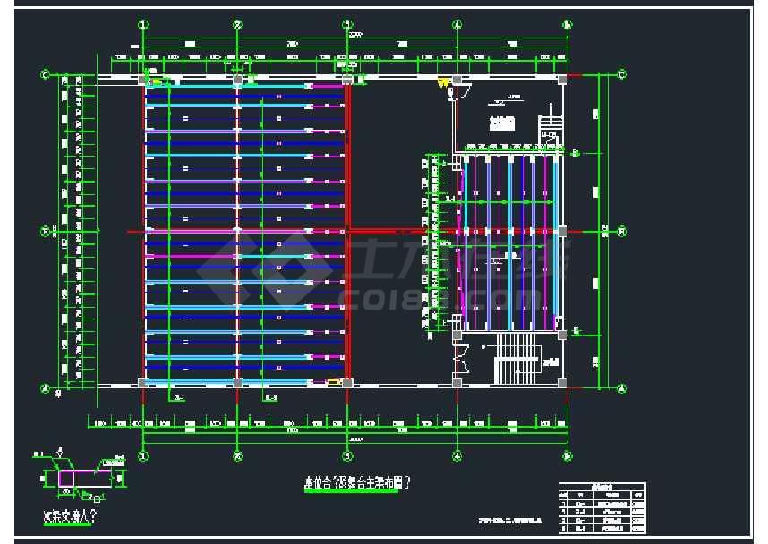 某地一套钢结构阶梯教室及舞台结构图