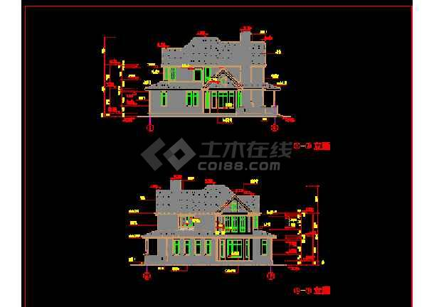 某精致别墅设计建筑CAD施工方案图纸-图1