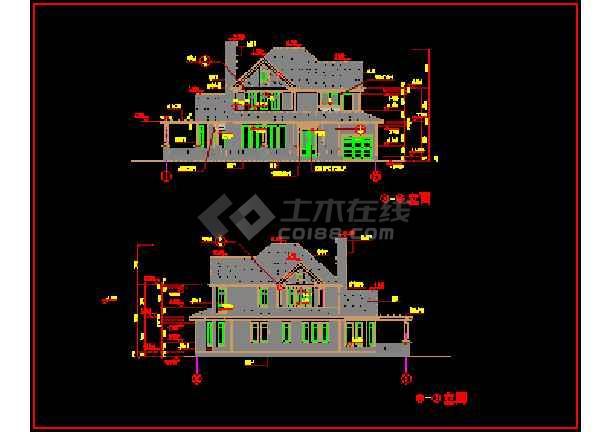 某精致别墅设计建筑CAD施工方案图纸-图2