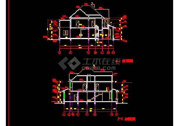 某精致别墅设计建筑CAD施工方案图纸-图3