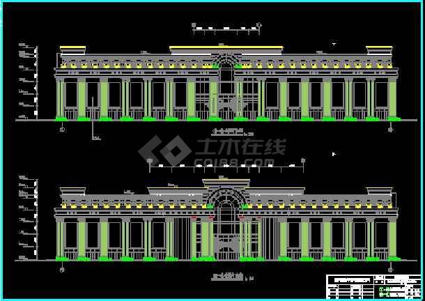 建筑大楼外墙亮化cad平立面设计图纸-图1