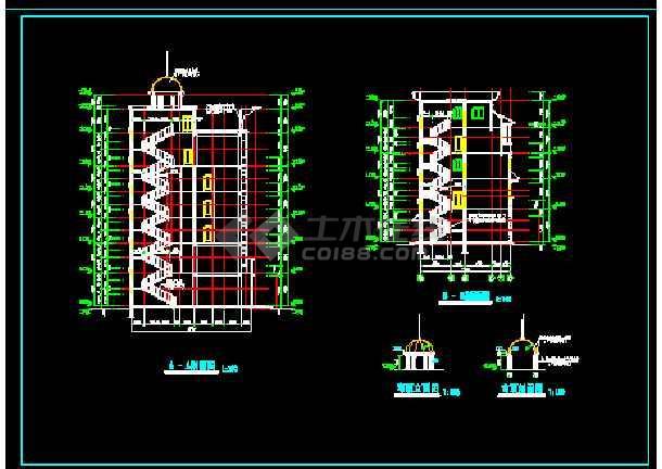 滨江新区新桥村小区会所CAD建施图-图2
