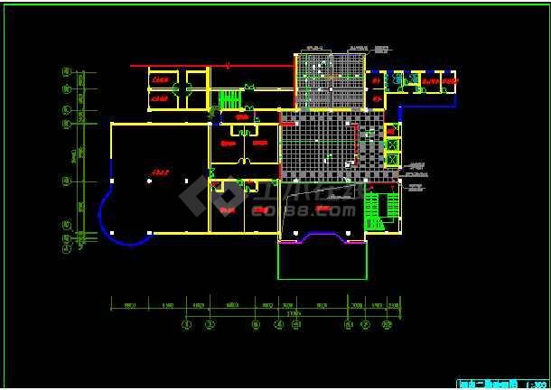 某市饭店局部空间装饰CAD施工设计图纸-图1