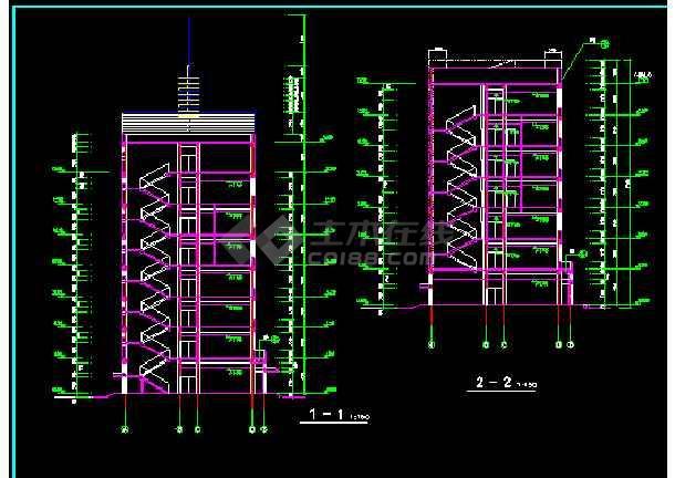 宾馆商住楼建筑CAD平立剖面设计图-图3