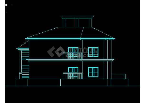 某地区某别墅区15号别墅建施图带效果图-图3