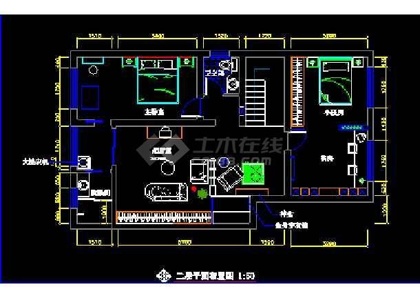 某小区复式住宅装饰CAD设计施工图纸-图3