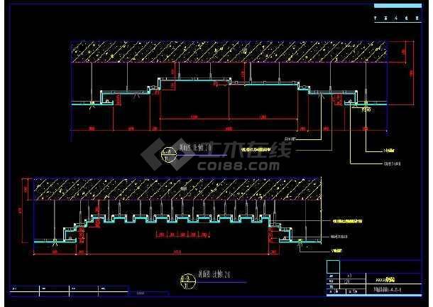 某桑拿洗浴中室内装修设计cad吊顶详图-图3
