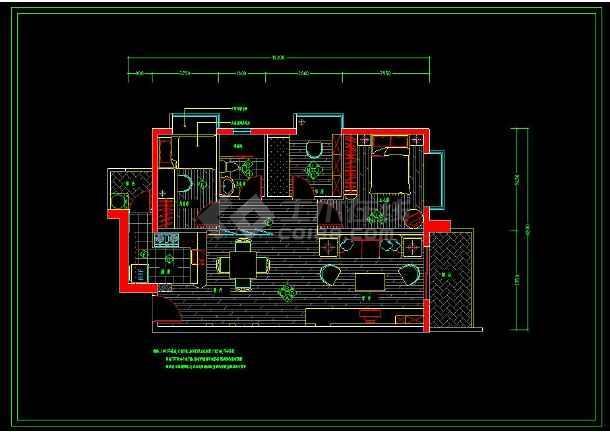 某小区两居室家装设计方案cad施工图-图1