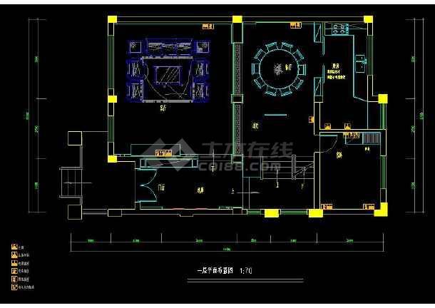 某经典联排别墅室内装修设计cad施工图-图2