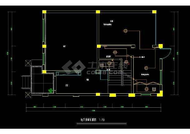 某经典联排别墅室内装修设计cad施工图-图3