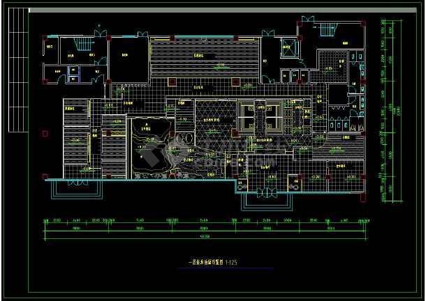 某地桑拿中心室内装修设计cad施工方案图-图1