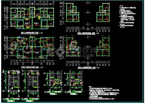 某别墅建筑结构cad平面设计施工图-图3