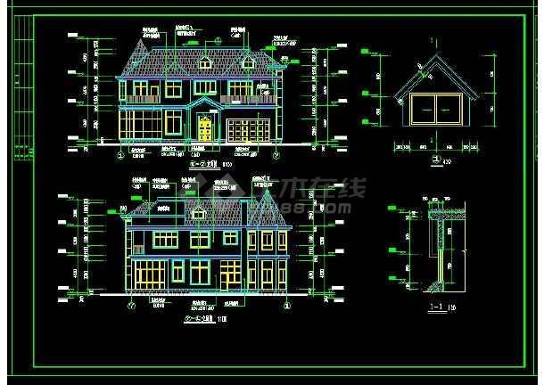 某地区某类型别墅设计cad建筑结构图带效果图-图2