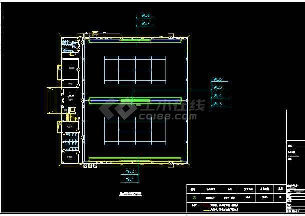 北京某大学体育馆布灯cad设计图-图2