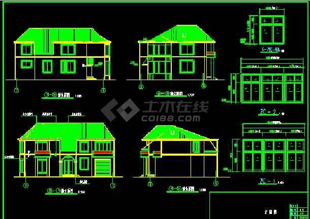 北方某二层别墅住宅建筑CAD施工设计图纸-图1
