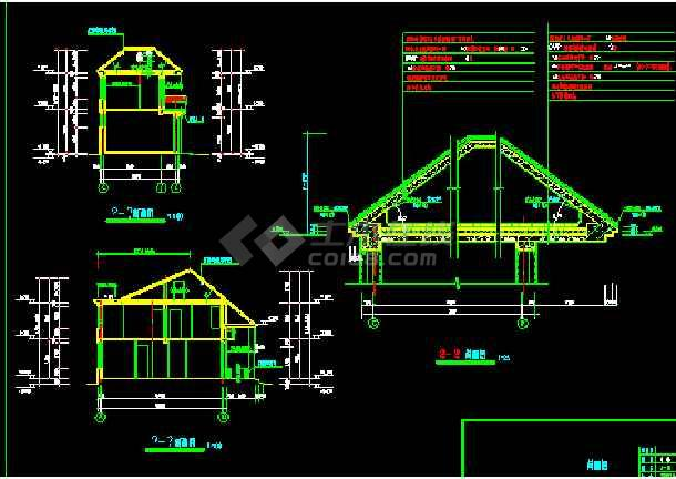 北方某二层别墅住宅建筑CAD施工设计图纸-图2