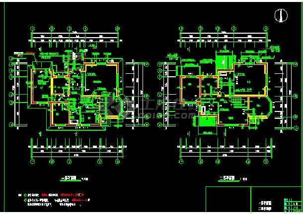 北方某二层别墅住宅建筑CAD施工设计图纸-图3