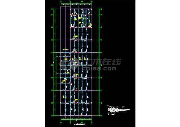 单层矩形柱框架结构地下车库结构CAD施工图纸-图1