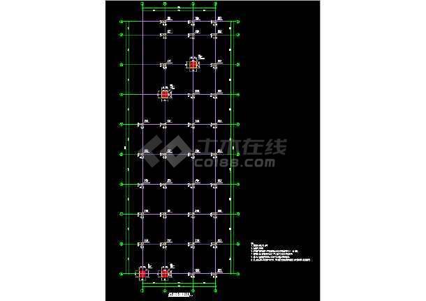 单层矩形柱框架结构地下车库结构CAD施工图纸-图2
