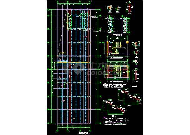 单层矩形柱框架结构地下车库结构CAD施工图纸-图3