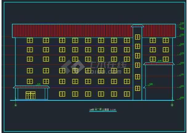 某高档大酒店建筑设计施工CAD图-图1