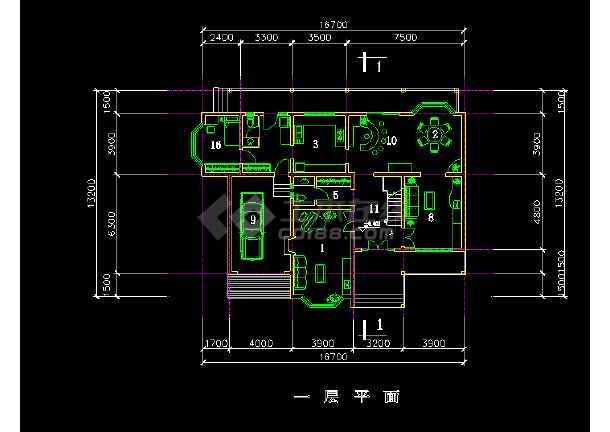 欧式别墅建筑cad平立剖面施工图-图1