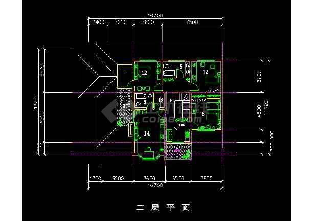 欧式别墅建筑cad平立剖面施工图-图2