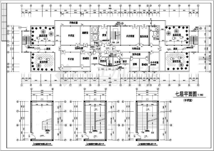 某地医院大型七层住院部建筑扩初图图片