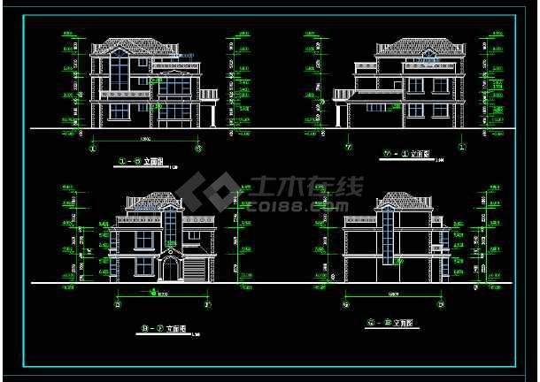 某地区某带阁楼别墅设计cad建施图带效果图-图2