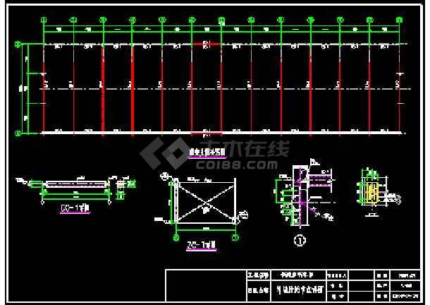 某自行车棚弧形、单跨等结构cad施工设计图纸-图3