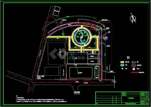 某小型广场施工图,内含水中亭及管涵等详细做法-图1