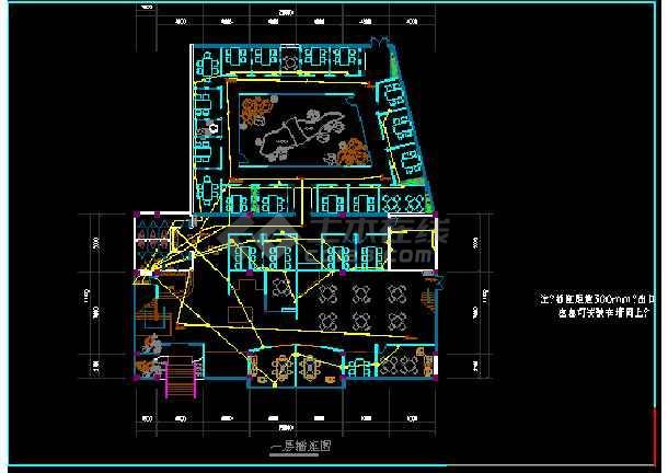 某茶楼照明电气cad平面设计布线图