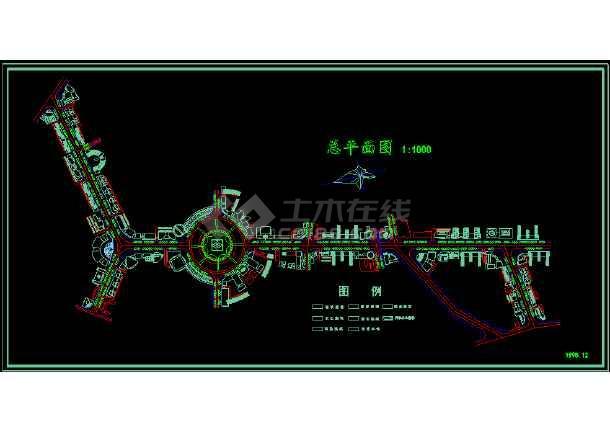 某市步行街CAD总平面设计方案图-图1